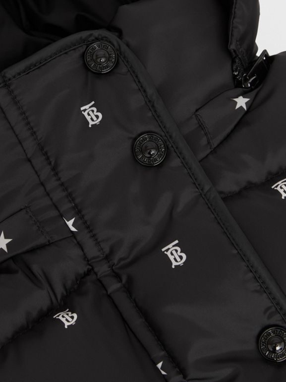 Star and Monogram Motif Puffer Gilet in Black | Burberry - cell image 1