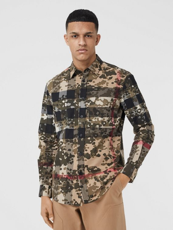 Camouflage Check Stretch Cotton Poplin Shirt in Archive Beige