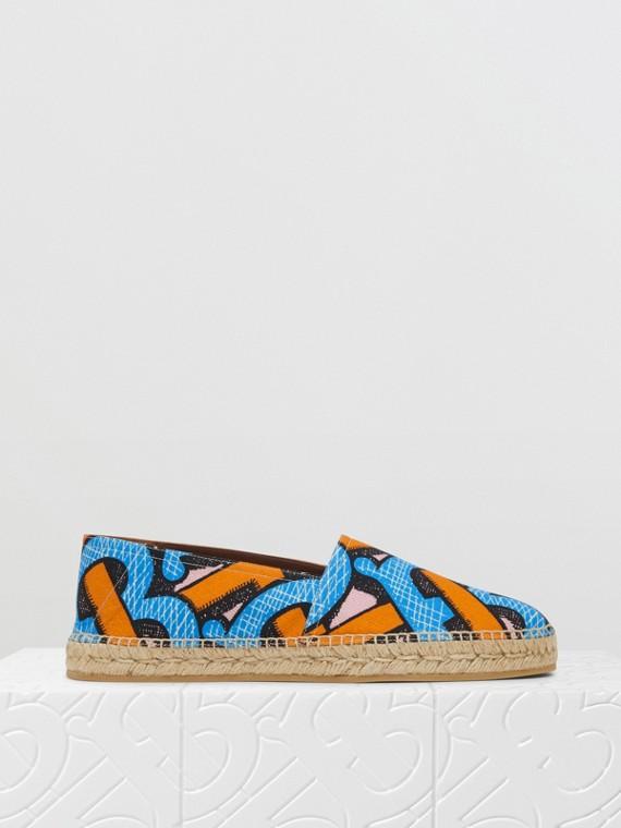 花押字印花棉質帆布麻織鞋 (亮鈷藍)