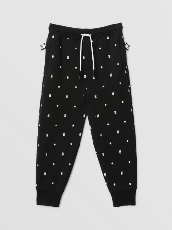 Star and Monogram Motif Cotton Jogging Pants in Black