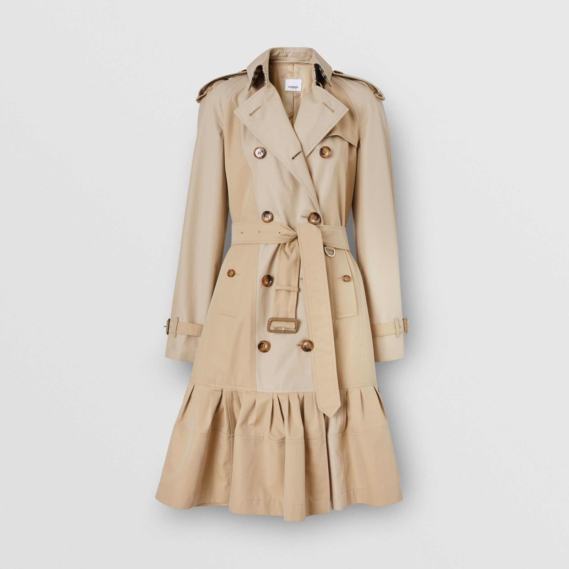 Gathered Detail Cotton Gabardine Trench Coat in Light Sand - Women | Burberry - gallery image 2