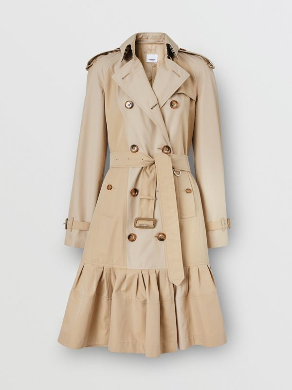Gathered Detail Cotton Gabardine Trench Coat in Light Sand - Women | Burberry - cell image 2