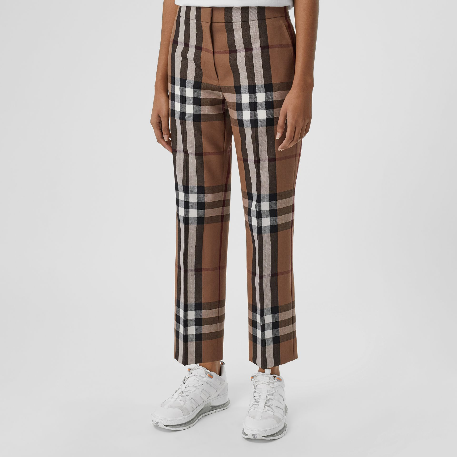 Check Wool Cropped Trousers in Birch Brown - Women | Burberry - gallery image 4