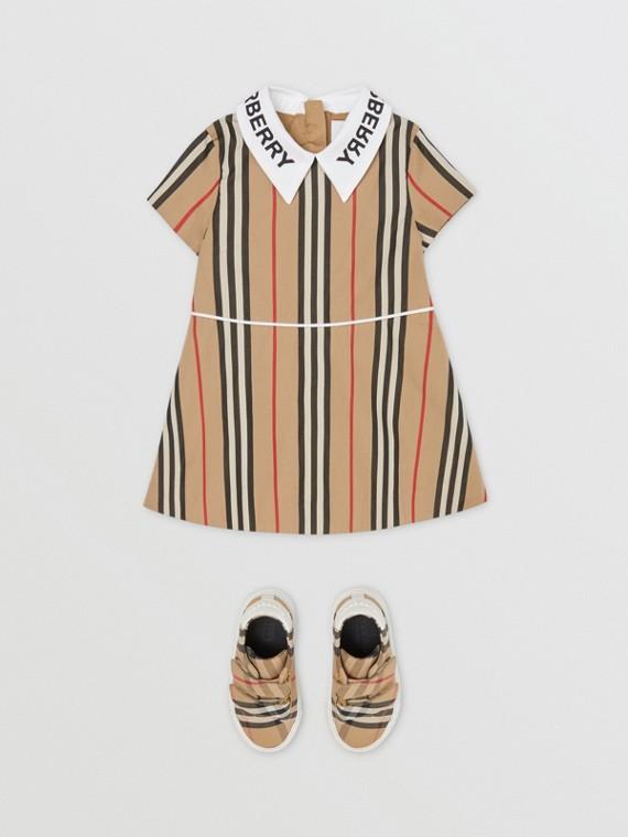 Logo Print Icon Stripe Cotton Poplin Dress in Archive Beige