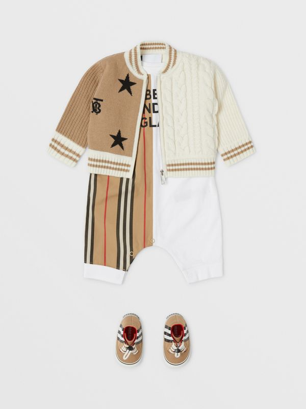 Star and Monogram Motif Wool Cashmere Blend Jacket in Archive Beige - Children | Burberry - cell image 2