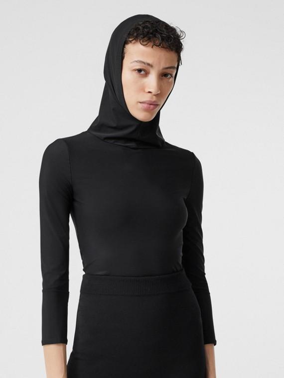 Haut à capuche en jersey stretch (Noir)