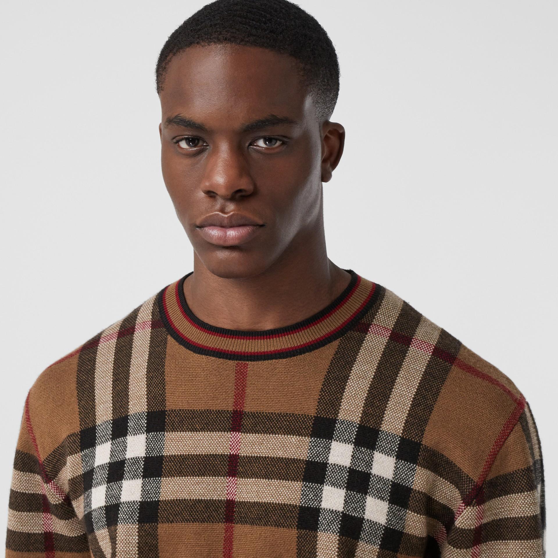 Check Merino Wool Jacquard Sweater in Birch Brown - Men | Burberry - gallery image 1