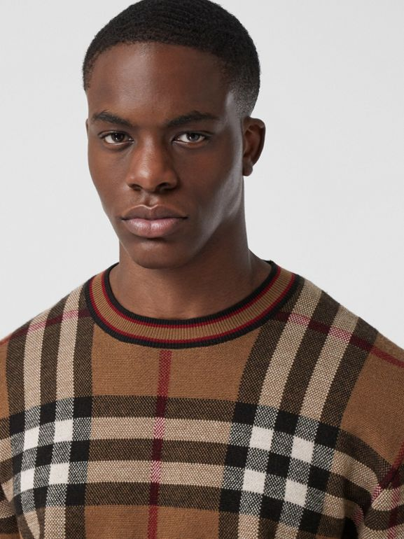 Check Merino Wool Jacquard Sweater in Birch Brown - Men | Burberry - cell image 1