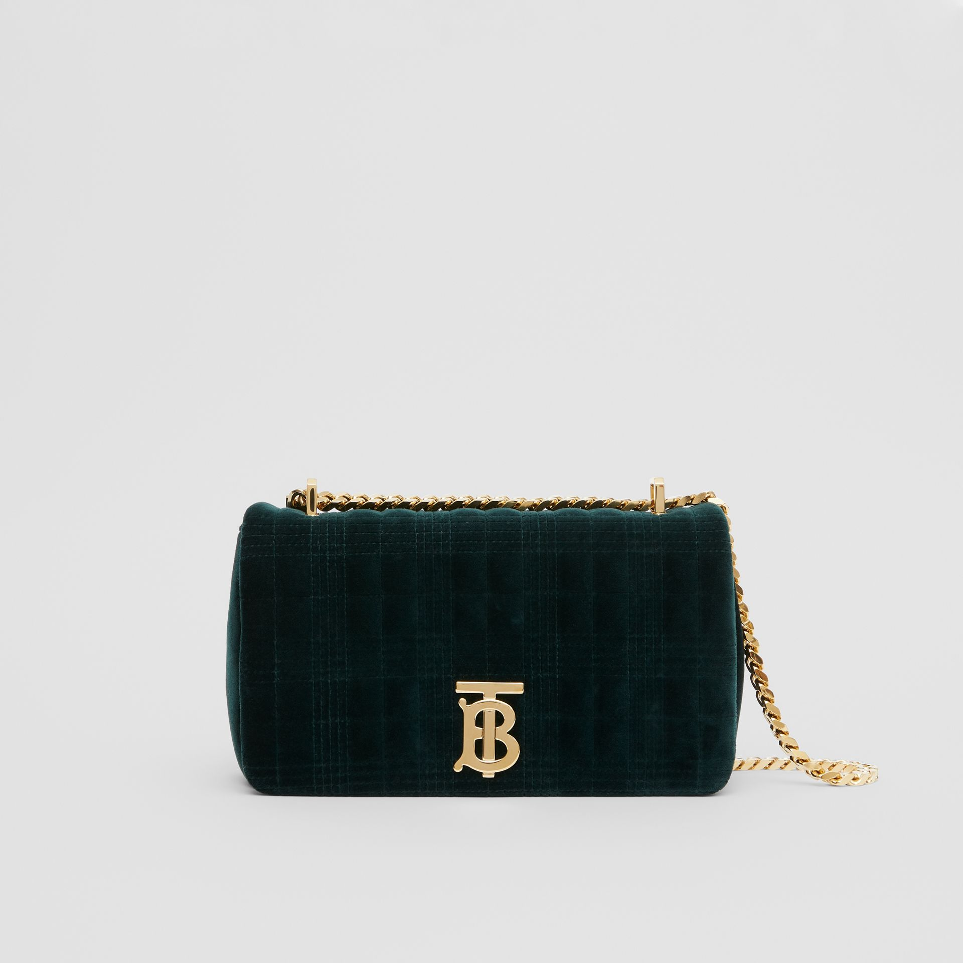 Small Quilted Velvet Lola Bag in Dark Green - Women | Burberry Australia - gallery image 0