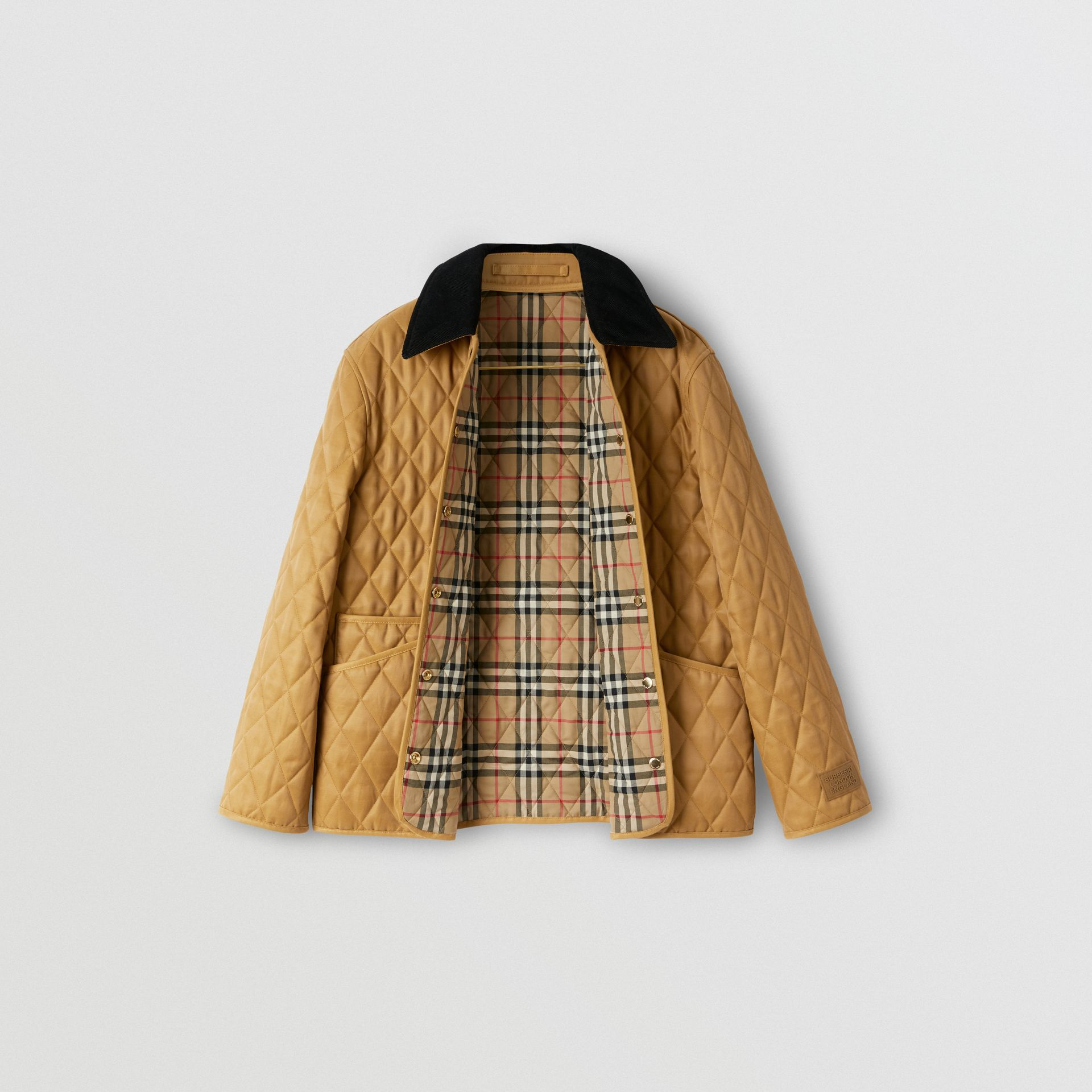 Corduroy Collar Diamond Quilted Jacket in Camel - Women | Burberry - gallery image 1