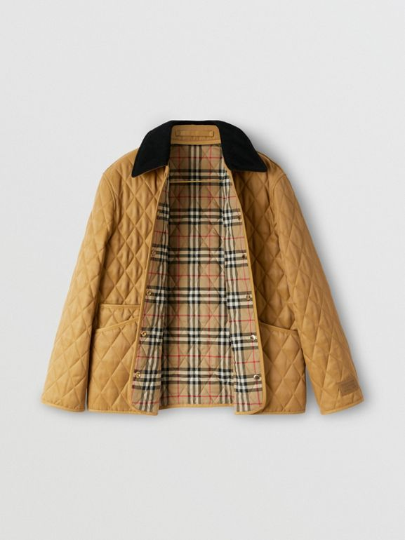 Corduroy Collar Diamond Quilted Jacket in Camel - Women | Burberry - cell image 1