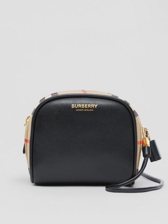 Bolsa Cube de couro com Vintage Check - Micro (Preto/bege)