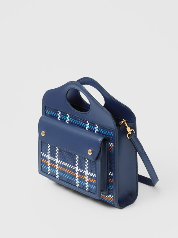 Mini Latticed Leather Pocket Bag in Blue/white/orange - Women | Burberry United Kingdom - cell image 3
