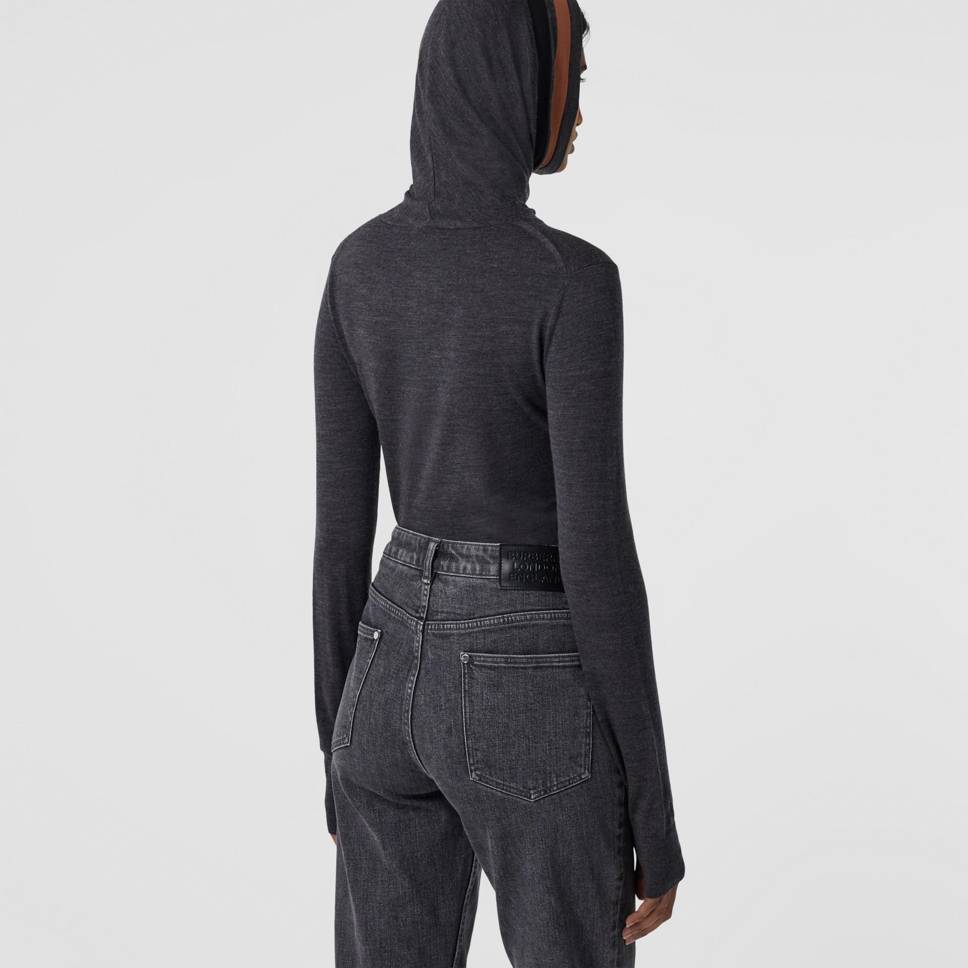 Stripe Detail Merino Wool Hooded Top in Dark Grey Melange - Women | Burberry - gallery image 2