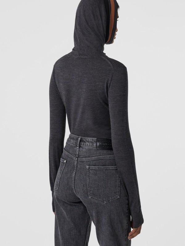 Stripe Detail Merino Wool Hooded Top in Dark Grey Melange - Women | Burberry - cell image 2