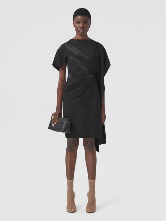 Flag Intarsia Silk Asymmetric Dress in Black
