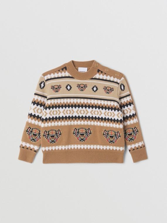 Pull en laine et cachemire à motif FairIsle (Camel)