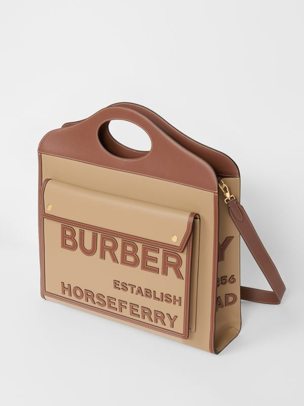 Extra Large Horseferry Appliqué Leather Pocket Bag in Honey - Women | Burberry - cell image 2