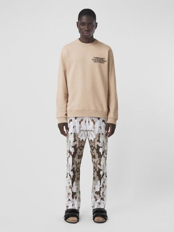 Location Print Cotton Sweatshirt in Soft Fawn
