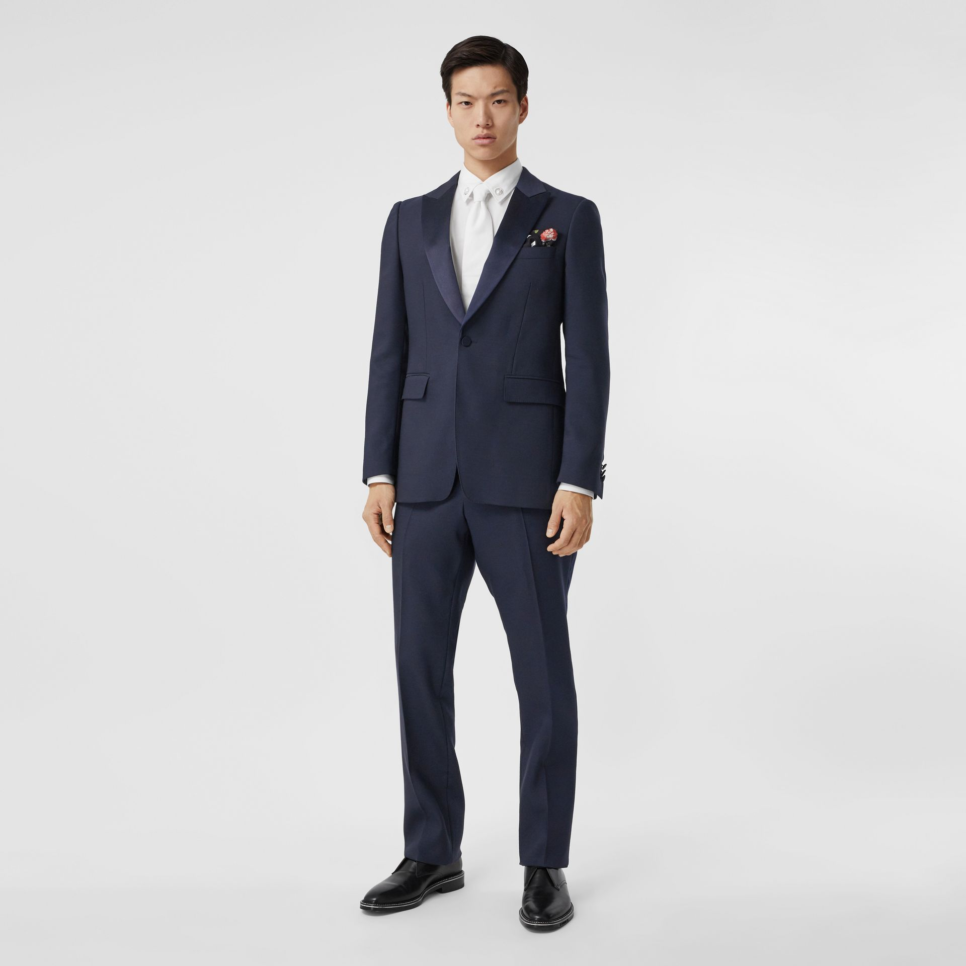 Classic Fit Wool Silk Blend Tailored Trousers in Navy - Men | Burberry - gallery image 0