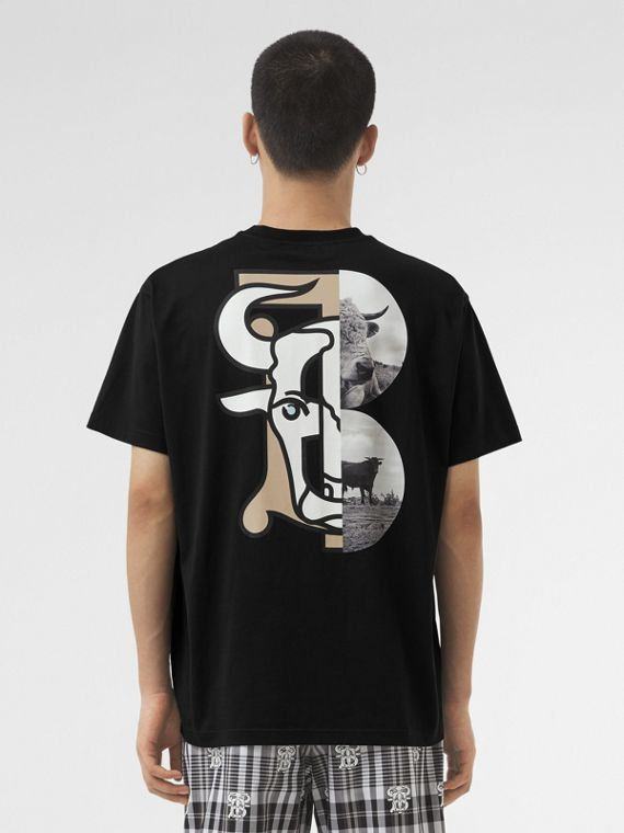 Montage Print Cotton T-shirt – Unisex in Black