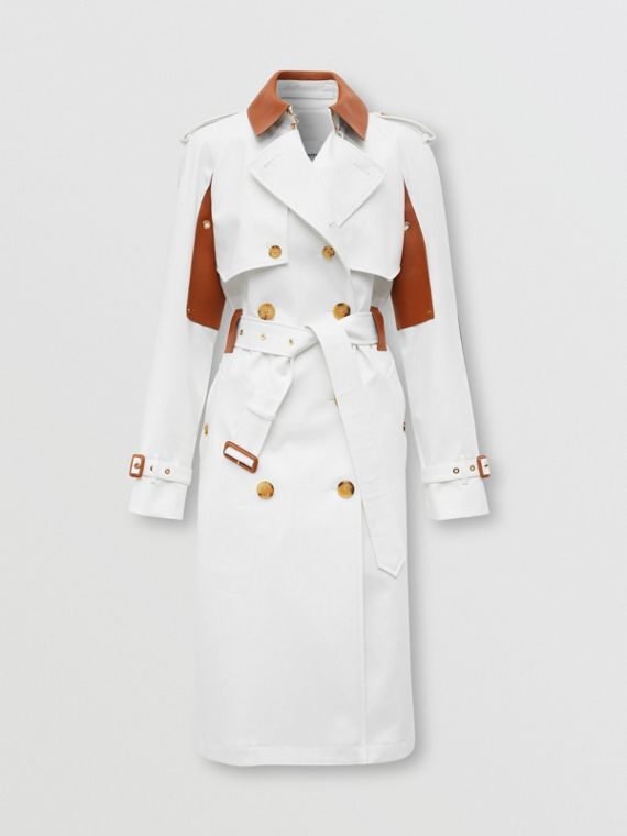 Leather Panel Cotton Canvas Trench Coat in Natural