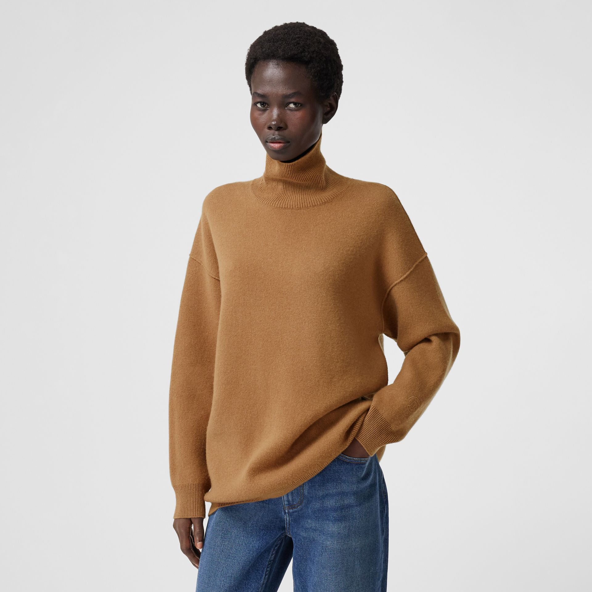 Monogram Motif Cashmere Blend Funnel Neck Sweater in Camel - Women | Burberry - gallery image 5