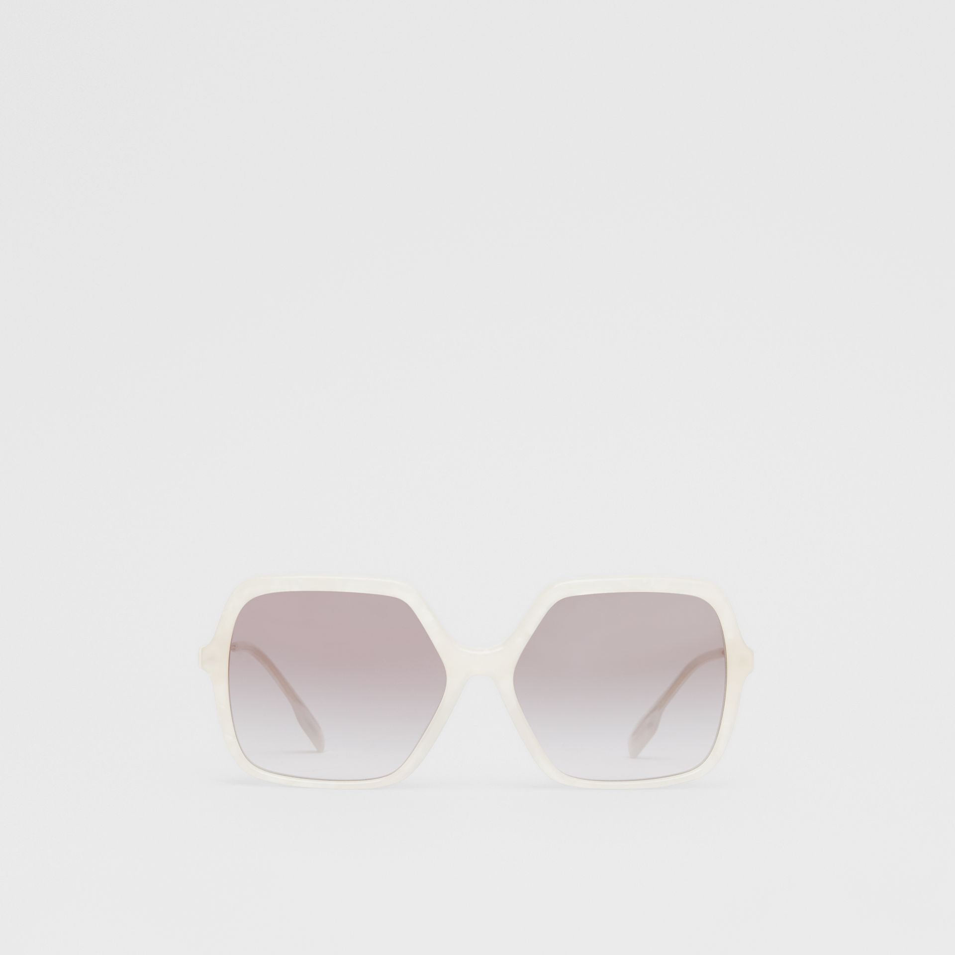 Oversized Square Frame Sunglasses in Pearl - Women | Burberry - gallery image 0