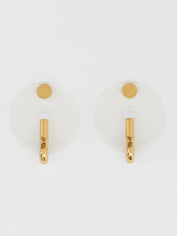 Resin and Gold-plated Disc Earrings in Light Gold/crystal