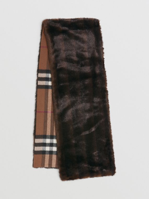Reversible Check Cashmere and Faux Fur Scarf in Birch Brown