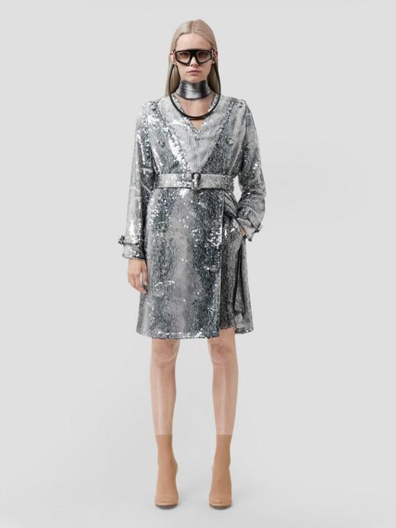 Sequinned Animal Print V-neck Trench Dress in Monochrome