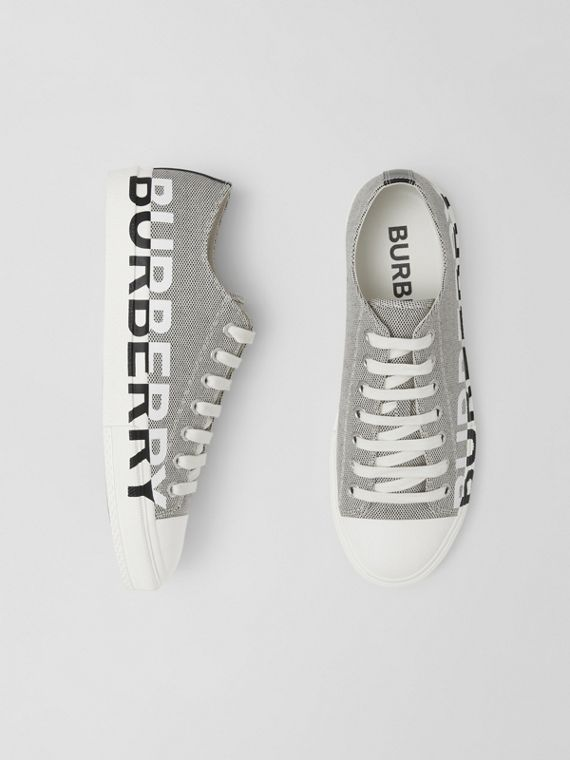Logo Print Cotton Canvas Sneakers in Black/white
