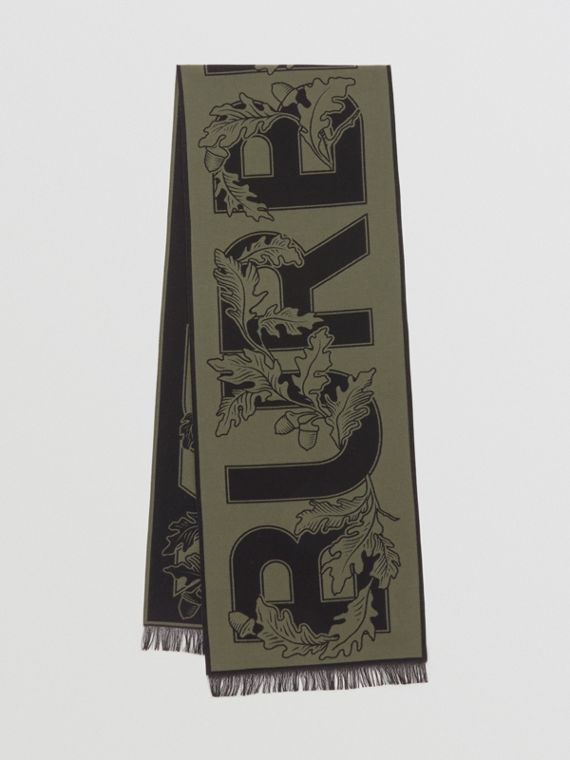 Archive Logo Wool Silk Jacquard Scarf in Dark Fern Green