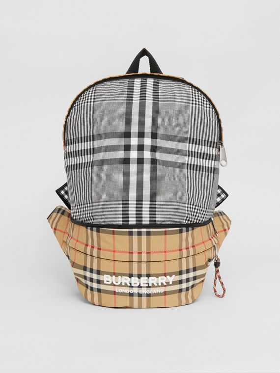 Vintage Check ECONYL® Convertible Bum Bag in Black/white
