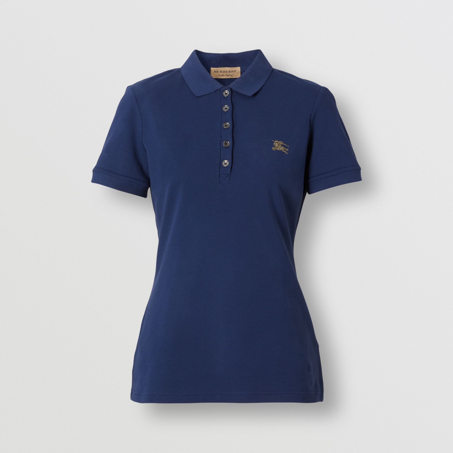 Check Trim Stretch Cotton Polo Shirt in Mid Indigo - Women | Burberry - gallery image 0