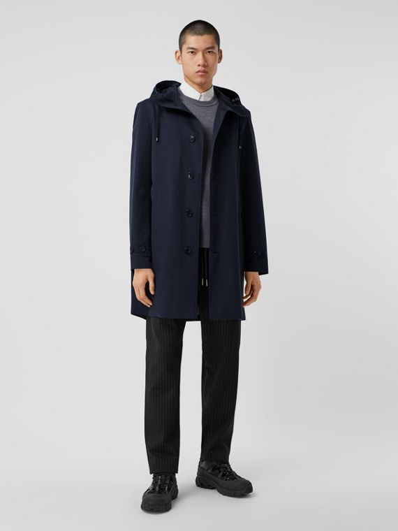 Organic Cotton Gabardine Hooded Coat in Midnight