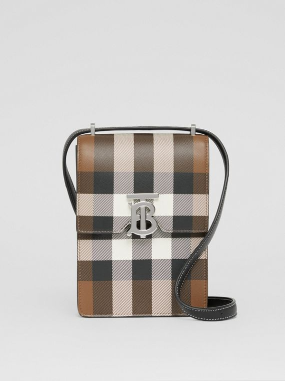 Check Print Leather Robin Bag (Dark Birch Brown)