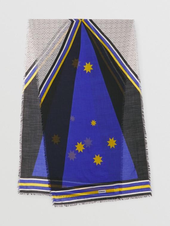 Montage Print Silk Wool Scarf in Oceanic Blue