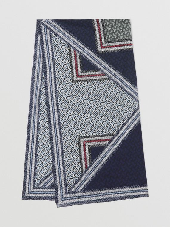 Monogram Stripe Print Cotton Sarong in Cobalt Blue