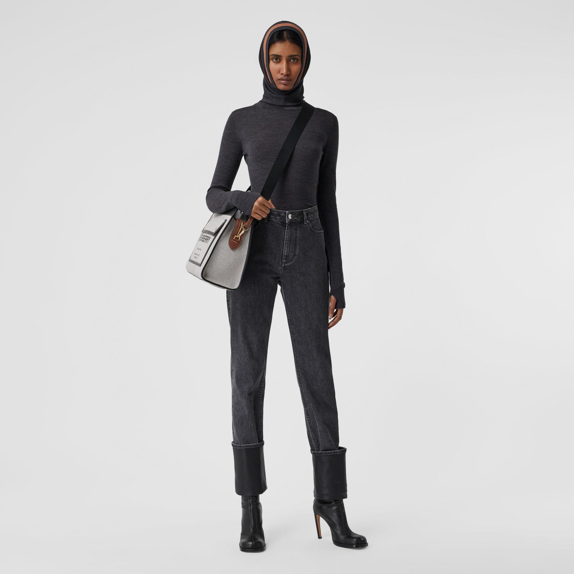 Stripe Detail Merino Wool Hooded Top in Dark Grey Melange - Women | Burberry - gallery image 0