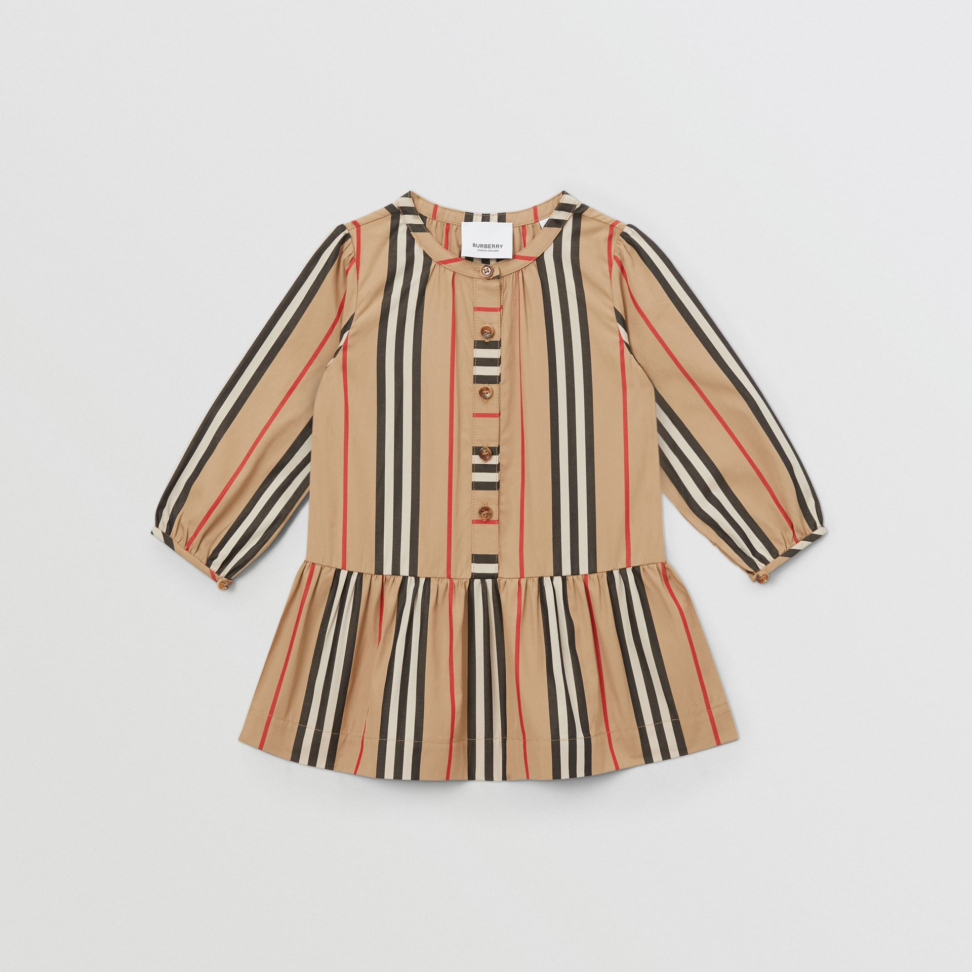 Icon Stripe Gathered Cotton Poplin Dress - Children | Burberry United Kingdom - gallery image 0