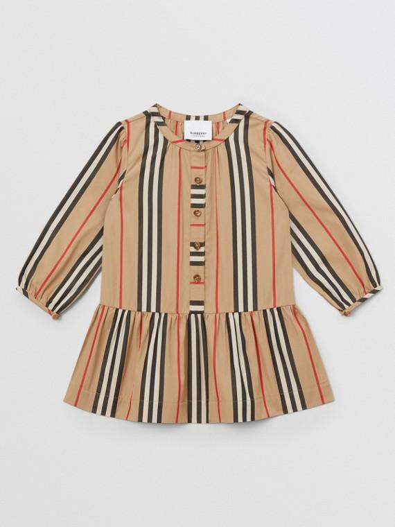 Icon Stripe Gathered Cotton Poplin Dress