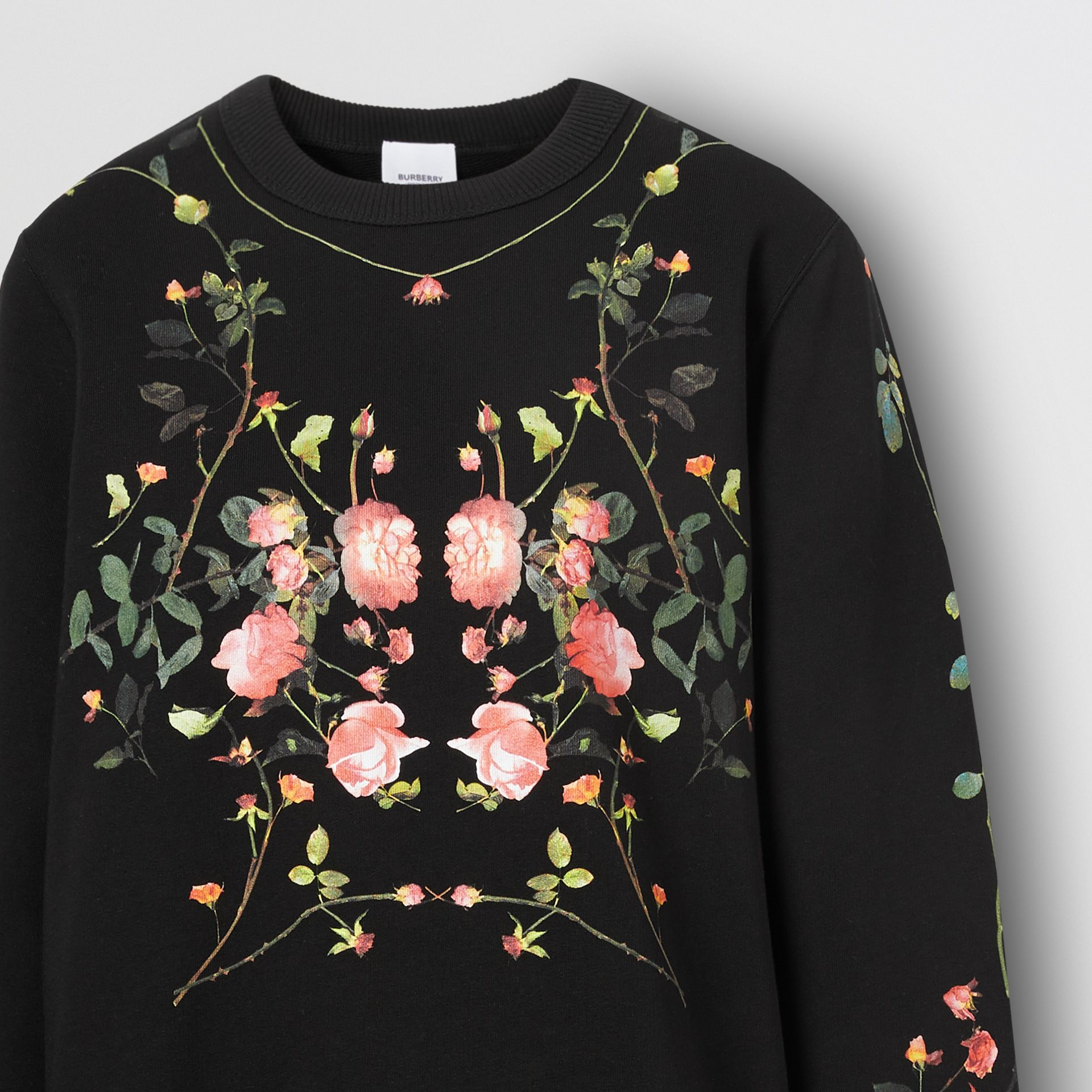 Rose Print Cotton Oversized Sweatshirt in Black - Women | Burberry - gallery image 5