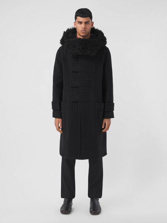 Hare Detail Technical Wool Duffle Coat in Black