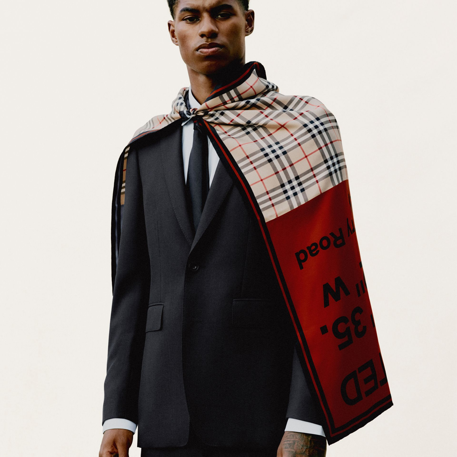 Montage Print Silk Square Scarf in Archive Beige/red/pink | Burberry Canada - gallery image 8