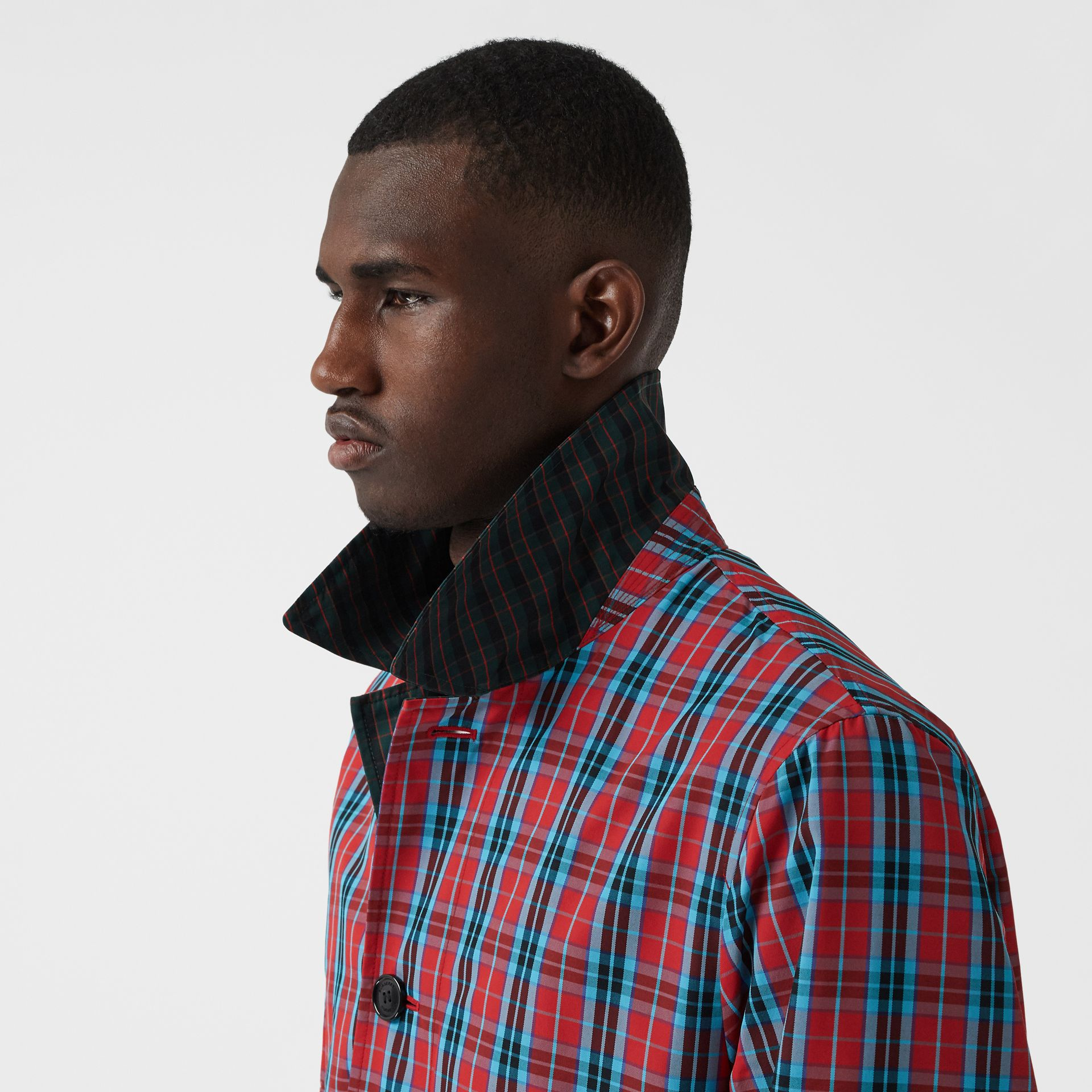 Contrast Collar Check Nylon Twill Car Coat in Red - Men | Burberry - gallery image 5