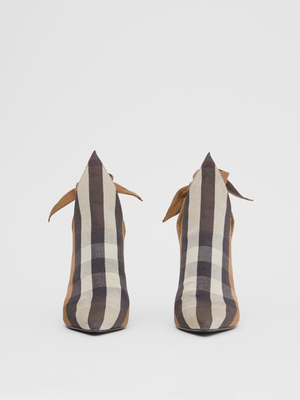 Tie Detail Check Technical Cotton Point-toe Mules in Birch Brown - Women | Burberry - cell image 3