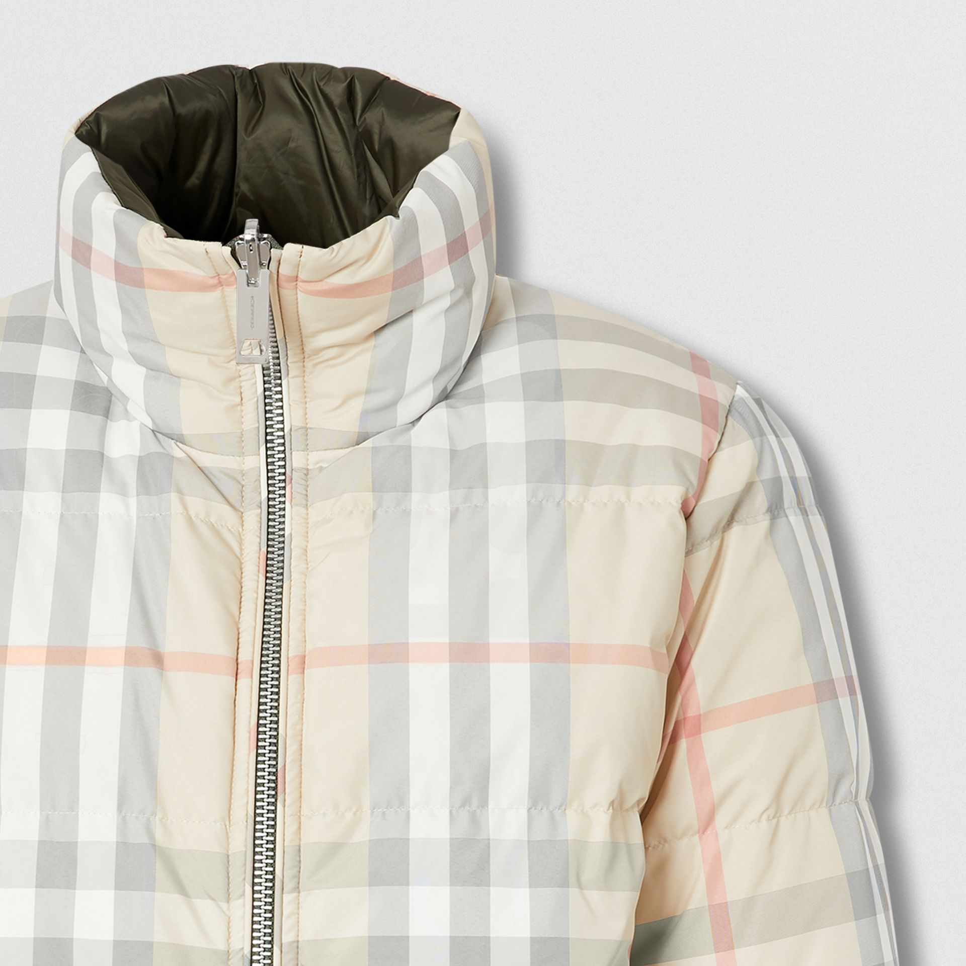 Reversible Check Puffer Jacket in Olive - Women | Burberry - gallery image 1
