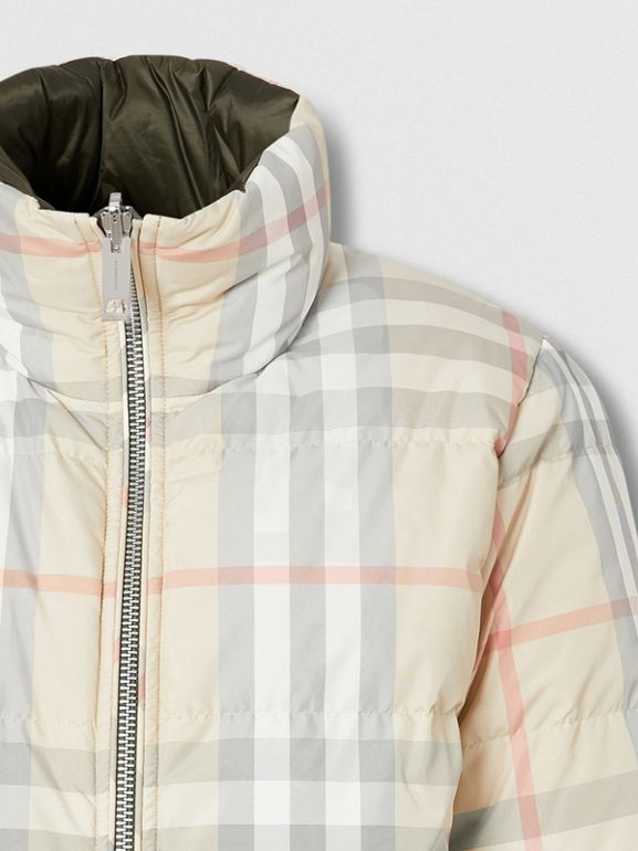 Reversible Check Puffer Jacket in Olive - Women | Burberry - cell image 1