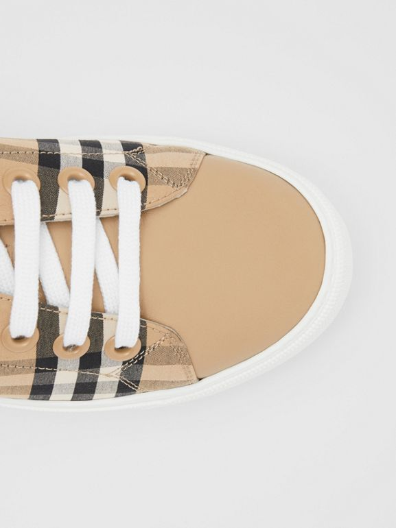 Vintage Check and Leather Sneakers in Archive Beige - Women | Burberry United Kingdom - cell image 1